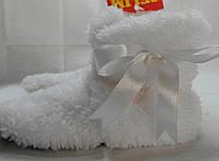 Нежные белые махровые домашние детские сапожки Малыш с бантом (Турция). Арт-4838