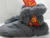Нежные серые махровые домашние детские сапожки Малыш с бантом (Турция). Арт-4838