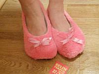 Домашние женские розовые махровые тапочки с бантиком. Арт-4835