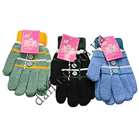 1632d9af010c64 Зимние перчатки для девочек 13002 (8-12 лет) шерсть+акрил Корона оптом