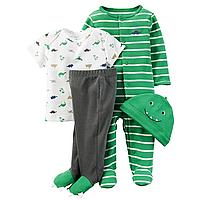 Подарочный комплект для новорожденного Carters зеленый Динозаврик, Размер 6м, Размер 6м