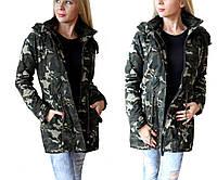Демисезонная женская куртка парка в стиле милитари