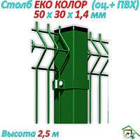 Столб ЕКО КОЛОР  (оц.+Ral 9005 ) 2,5 м