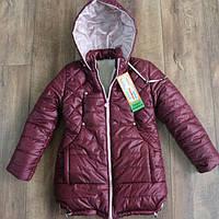 Зимнее пальто на меху для девочек 128,146 рост
