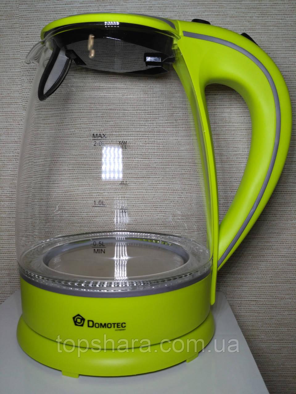 Электрочайник Domotec DT-703 чайник 2 л. Салатовый