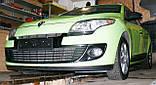 Декоративно-защитная сетка радиатора Renault Megane III фальшрадиаторная решетка, бампер, фото 10