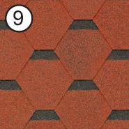 Битумная черепица RoofShield Стандарт 0.0, 25, Плоская, Классик красный с оттенением