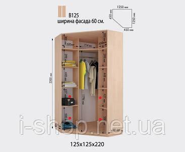 Угловой шкаф-купе В125 (h2200 мм) ООО Дом