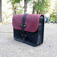 Двухцветная кожаная мужская сумка