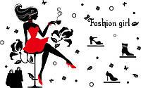 Наклейка виниловая Шопинг Девушка в красном платье 3D декор