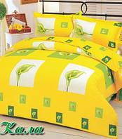 Комплект постельного белья Калла, ТМ Я Люблю, бязь люкс 100% хлопок, коричневый, желтый, Киев