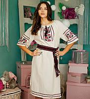 Вышитое платья (ручная робота, лен) - Калина, фото 1