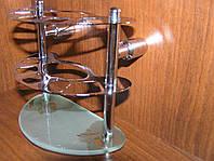 Держатель для зубных щеток  хром/стекло, фото 1