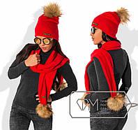 Шапка женская красная с шарфом  ДВ/-030