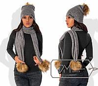 Шапка женская серая с шарфом  ДВ/-030