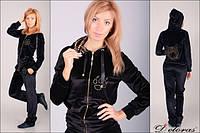 Модный велюровый костюм черный бархат с тигром