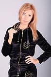 Модний велюровий костюм чорний оксамит з тигром, фото 4