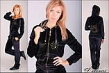 Модний велюровий костюм чорний оксамит з тигром, фото 5