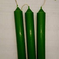 Свеча столовая зеленая  h- 14 см