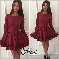 Стильное бордовое платье с рюшами. Арт-8943/76