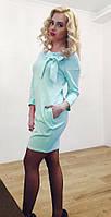 Нежное бирюзовое  платье с бантом. Арт-8944/76
