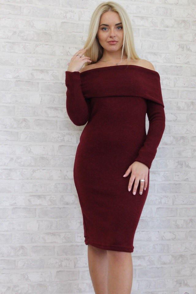 5821e54159664ef Стильное бордовое ангоровое платье с открытыми плечами. Арт-8945/76, цена  370 грн., купить в Одессе — Prom.ua (ID#411713504)