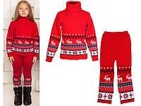 """Теплый шерстяной костюм """"Олени"""" (свитер + брючки), для девочки, цвет красный"""