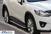 Mazda CX-3 2015+ гг. Боковые площадки KB001 (нерж) 60 мм