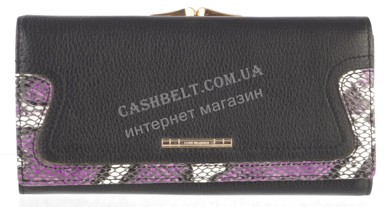 Стильный женский оригинальный кожаный кошелек высокого качества LOUI VEARNER art. LOU19-2019A черный
