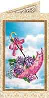 Набор-открытка для вышивки бисером Цветы в зонтике AO-121