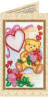Набор-открытка для вышивки бисером Плюшевое счастье AO-124