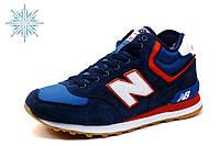 Кроcсовки зимние New Balance HM 574, мужские, замша, темно-синие, фото 1