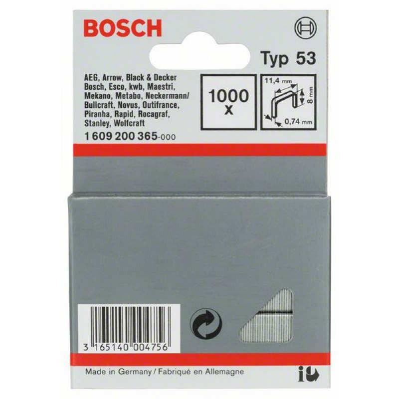 Скрепки Bosch 1000шт 8мм ТИП 53, 1609200365