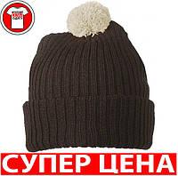 Вязаная шапка с помпоном ШОКОЛАДНЫЙ/ЦВЕТ ХАКИ mb7540