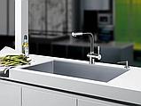 Однозахватный кухонний змішувач Blue Water Польща Corsa inox black mat. з висувним душем, фото 3