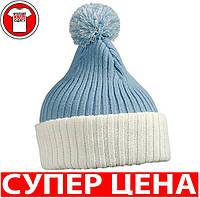 Вязаная шапка с помпоном НЕБЕСНО-ГОЛУБОЙ/БЕЛЫЙ mb7540