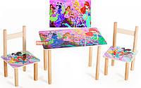 Набор деревянный стол 2 стульчика Винкс