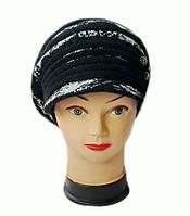 Берет с козырьком(кепка) женский вязаный Леона шерсть натуральная цвет черный