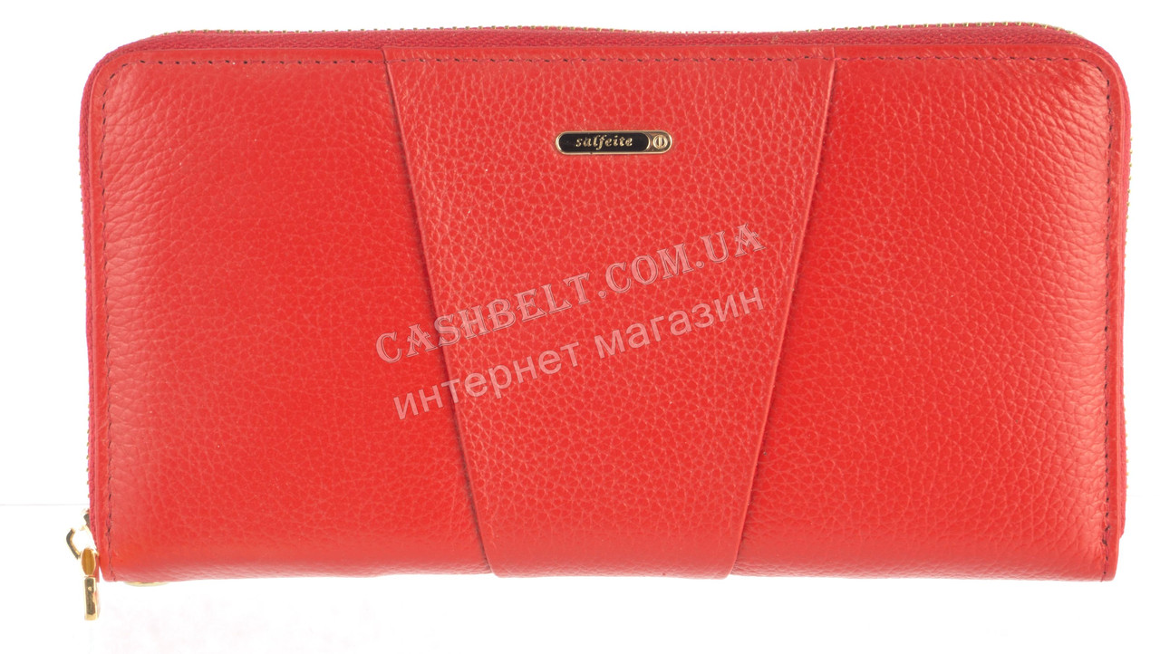 Стильный прочный женский кожаный кошелек барсетка высокого качества  SALFEITE art. 506548L красный