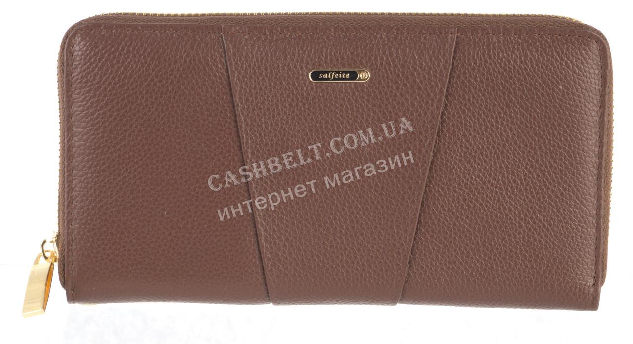 Стильный прочный женский кожаный кошелек барсетка высокого качества  SALFEITE art. 506548L коричневый