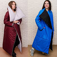 Женское зимнее длинное  пальто одеяло c воротником, двухстороннее