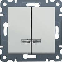Выключатель с подсветкой 2-клавишный Lumina-2, белый, 10АХ / 230В