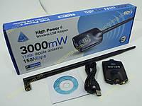 Беспроводной адаптер Melon N3000  +11dBi антенна. HighPower USB Wireless Adaptor b/g 54Mbps (Адаптер WiFi на чипе Ralink 3070 c усилителем на 3000mW в