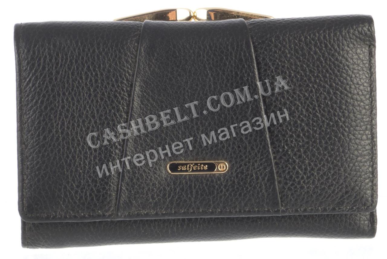 Небольшой прочный женский кожаный кошелек высокого качества  SALFEITE art. 506103L черный
