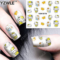"Наклейка на ногти, наклейка для ногтей, ногтевой дизайн ""Hello Kitty котик"" 20 шт набор"