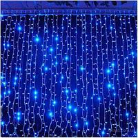 Гирлянда светодиодная наружная Curtain 1520LED 2x7м  синий/черный IP44 Delux EN