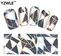 """Наклейка на ногти, наклейка для ногтей, ногтевой дизайн """"черные треугольники"""" 14 шт набор"""