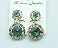 Зелёные женские серьги. Богатая коллекция серёжек оптом. 503