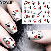 """Наклейка на ногти, наклейка для ногтей, ногтевой дизайн """"черные коты"""" 20 шт набор"""