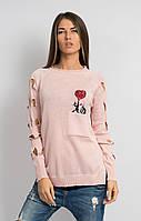 Джемпер  розовый коты с сердцем, фото 1
